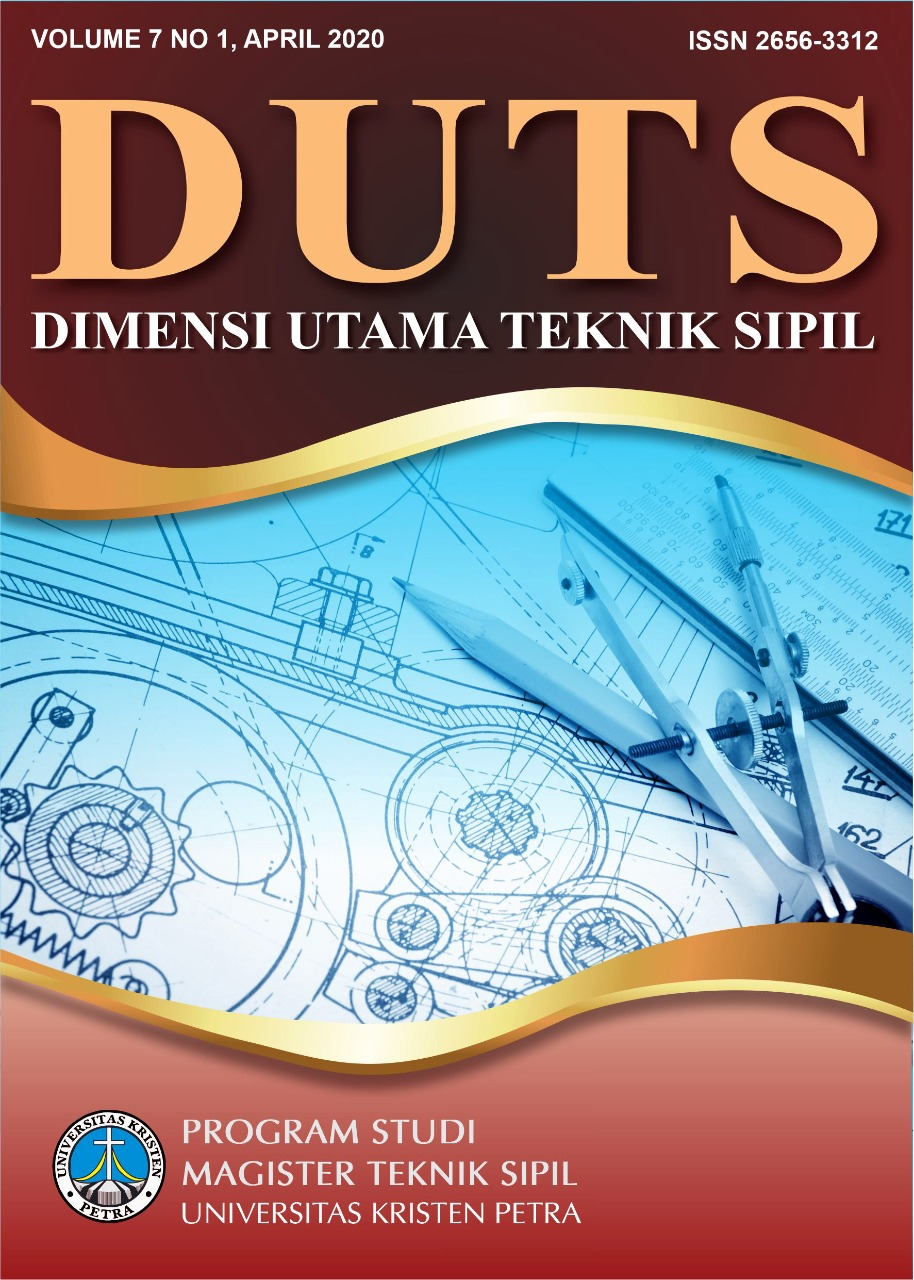 Jurnal Dimensi Utama Teknik Sipil (DUTS Journal) is a peer-reviewed online journal that is published twice a year in June and December. This journal first appeared in June 2014. The purpose of publishing this journal is as a forum for Postgraduate Civil Engineering fellow to disseminate the results of research in the scientific field and application in Civil Engineering or Construction Management.